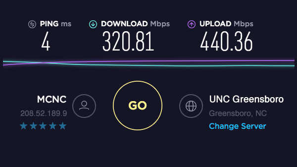 speedtest screenshot of the final results showing download and upload speeds